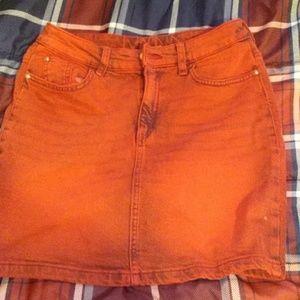 H&M RED ACID WASH denim MINI skirt